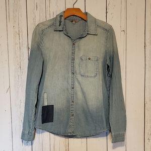 Rubbish Chambray Patchwork Button Down Shirt M